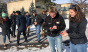 New Visions students test their berry-powered solar cells on the engineering quad