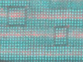 This layered structure of strontium (not colored), barium (red) and titanium (teal) is a tunable dielectric that can improve the performance of high-frequency electronics.
