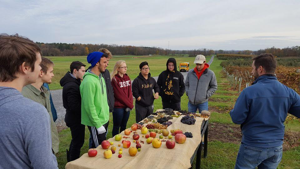 Students at agriculture research station with various fruit